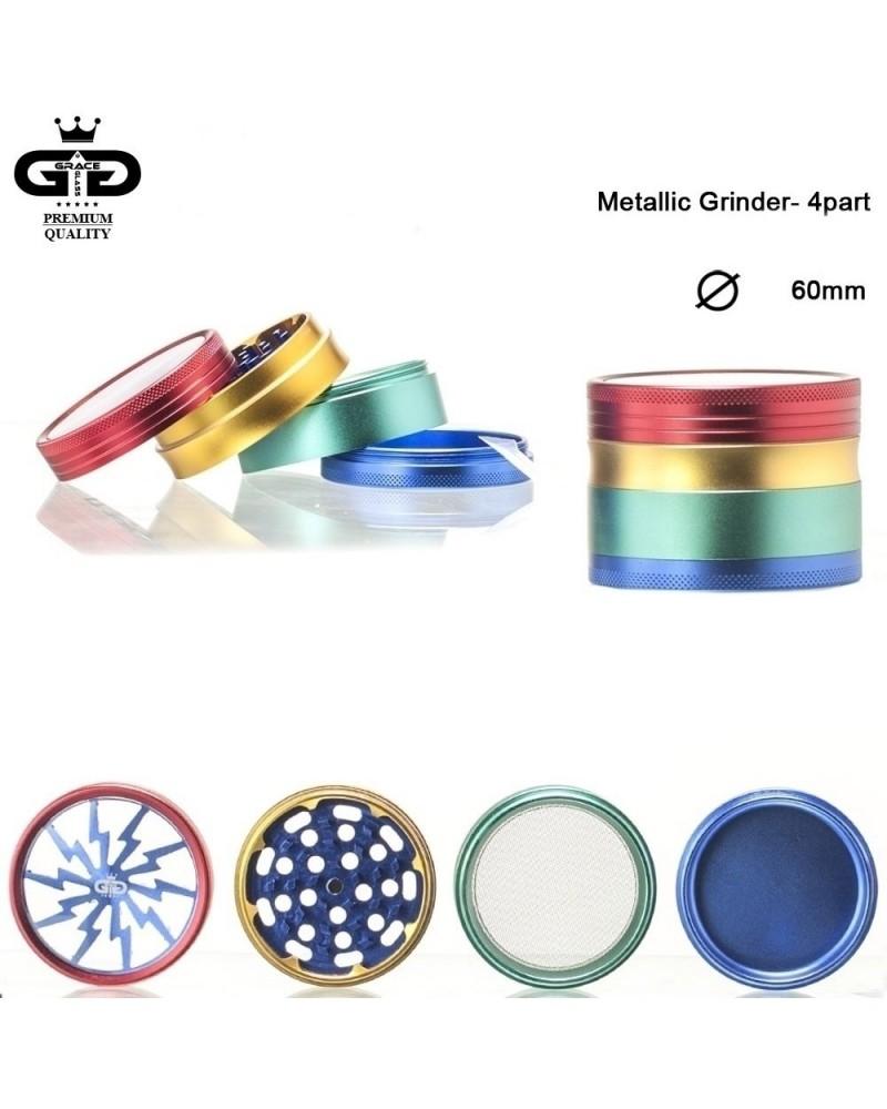 Металлический гриндер с сеткой Grace Glass Rasta (6 см)